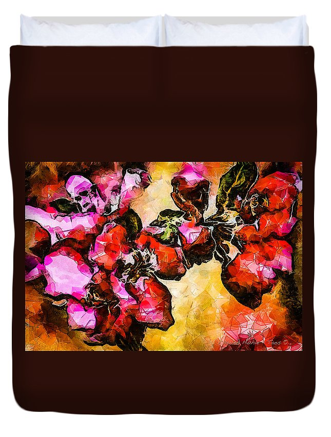 Magenta Duvet Cover featuring the digital art Magenta Flowers -- Cubism by Charles Muhle