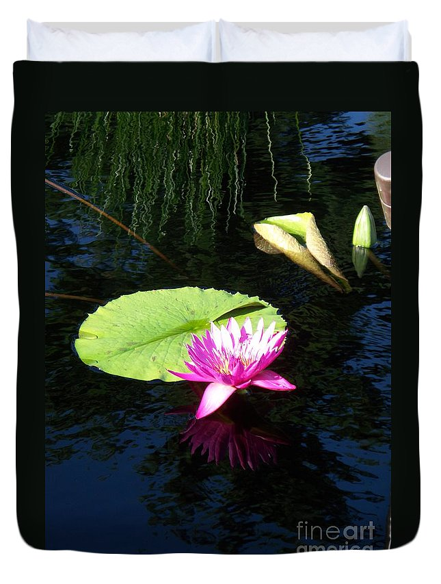Water Lilies Duvet Cover featuring the photograph Magenta Lily Monet by Eric Schiabor