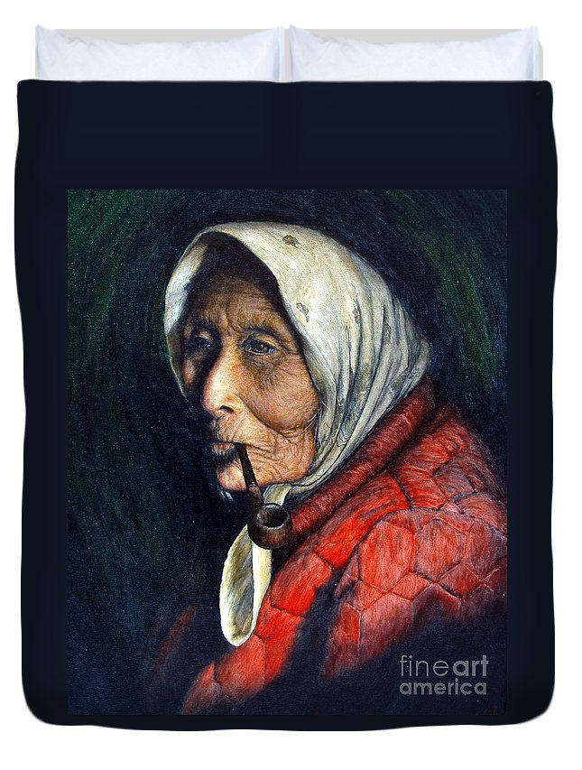 Native Duvet Cover featuring the painting Maggie by Joey Nash