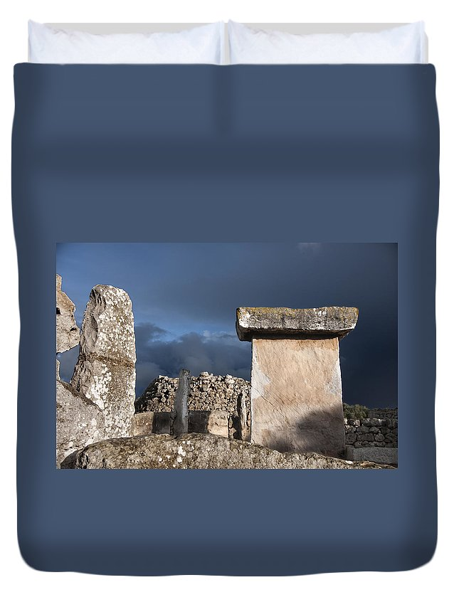 Ancient Duvet Cover featuring the photograph Bronze Edge In Minorca Called Talaiotic Age Unique At World - Magic Island 1 by Pedro Cardona Llambias