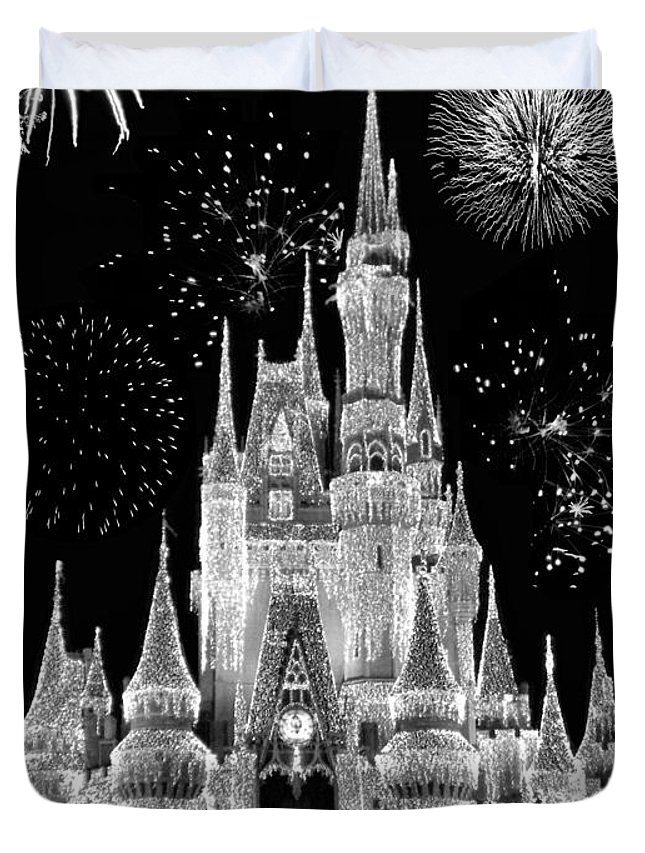Magic Kingdom Castle In Black And White With Fireworks