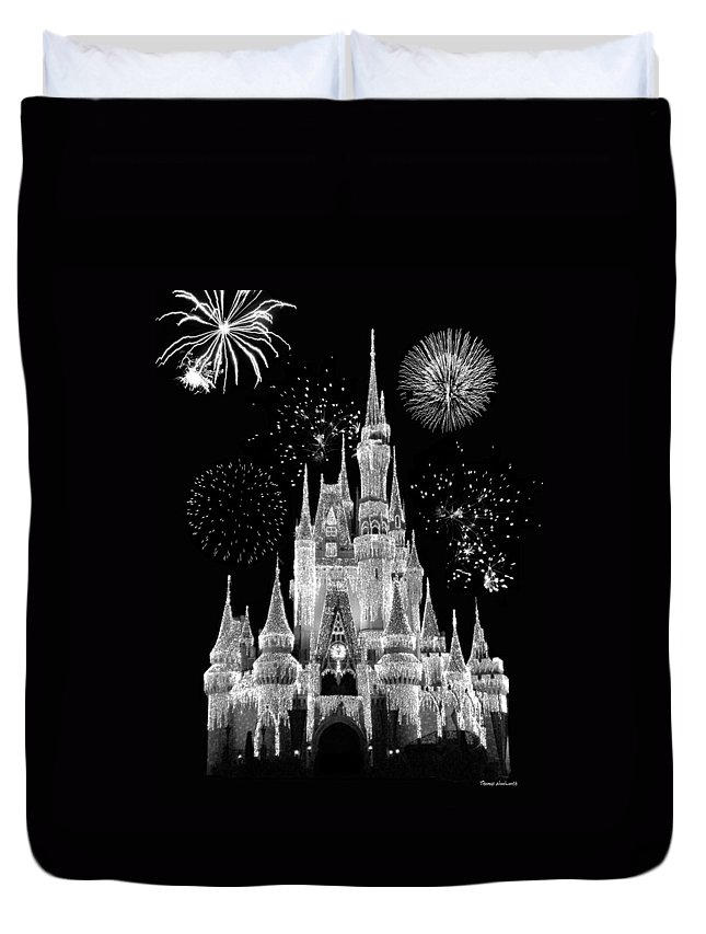 Black And White Duvet Cover featuring the photograph Magic Kingdom Castle In Black And White With Fireworks Walt Disney World by Thomas Woolworth