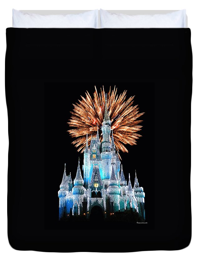 Castle Duvet Cover featuring the photograph Magic Kingdom Castle In Frosty Light Blue With Fireworks 02 by Thomas Woolworth