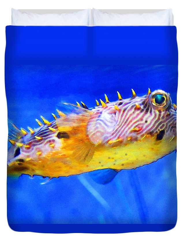 Fish Duvet Cover featuring the painting Magic Puffer - Fish Art By Sharon Cummings by Sharon Cummings