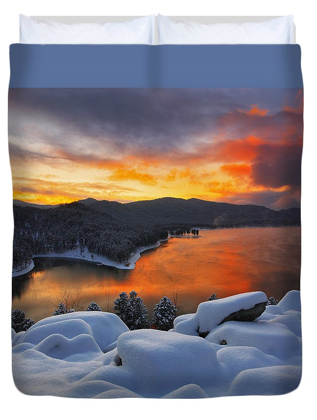 Aerial Duvet Cover featuring the photograph Magic Sunset by Kadek Susanto
