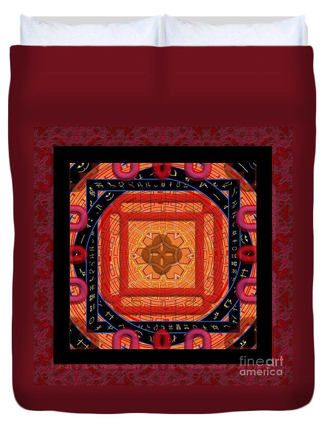 Magical Rune Mandala Duvet Cover featuring the digital art Magical Rune Mandala by Liane Wright