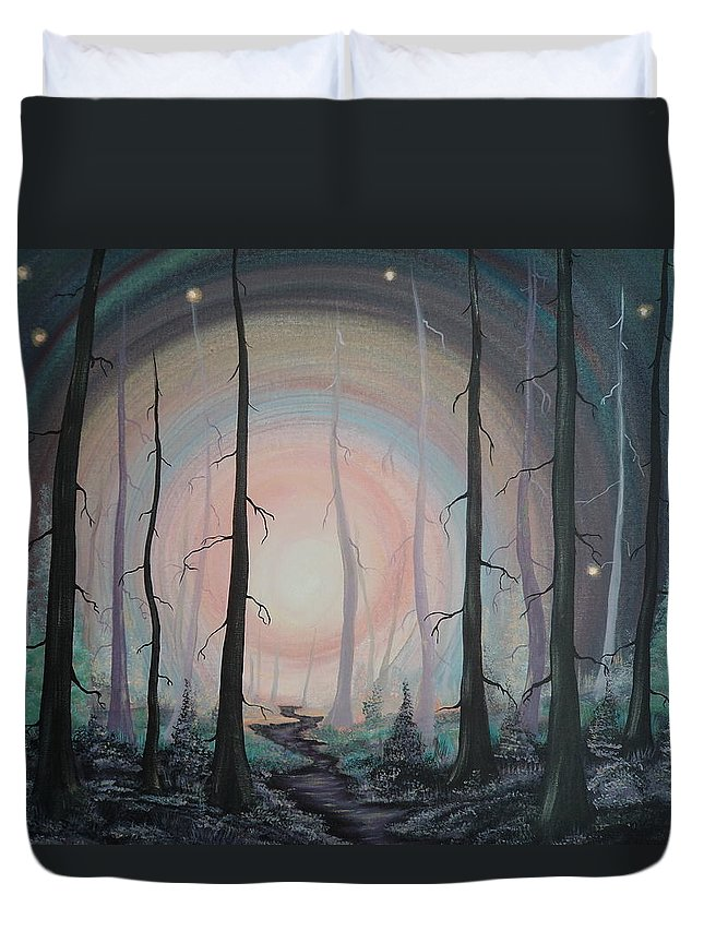 Woods Duvet Cover featuring the painting Magicle Forest by Krystyna Spink