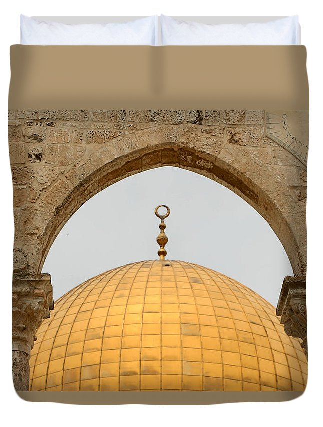 Dome Of The Rock Duvet Cover featuring the photograph Magnificent by Munir Alawi
