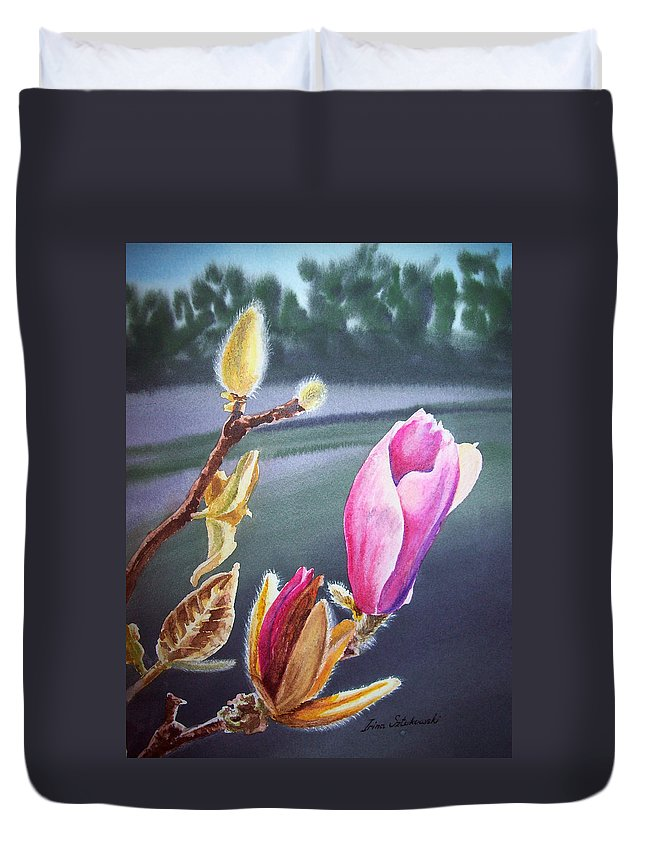 Magnolia Duvet Cover featuring the painting Magnolia Blossoms by Irina Sztukowski