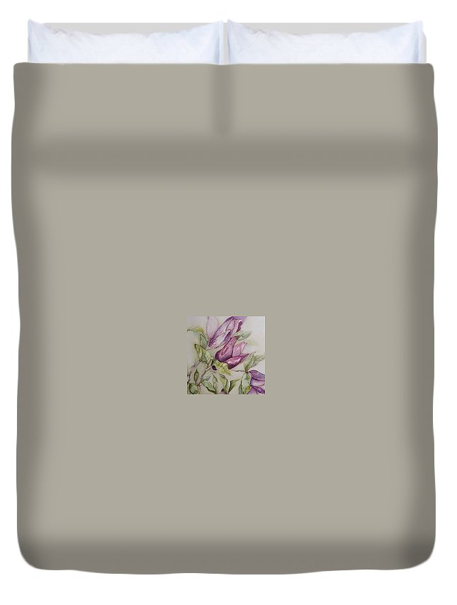 Magnolia Duvet Cover featuring the painting Magnolia by Cheryl Miller
