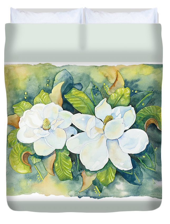 Flowers Duvet Cover featuring the painting Magnolias by Cathy Locke