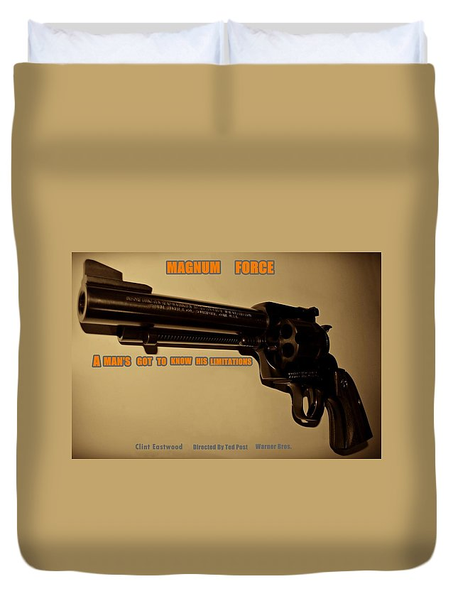 Magnum Force Duvet Cover featuring the photograph Magnum Force Custom by Movie Poster Prints