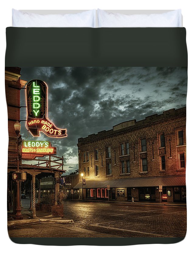 Joan Carroll Duvet Cover featuring the photograph Main And Exchange by Joan Carroll