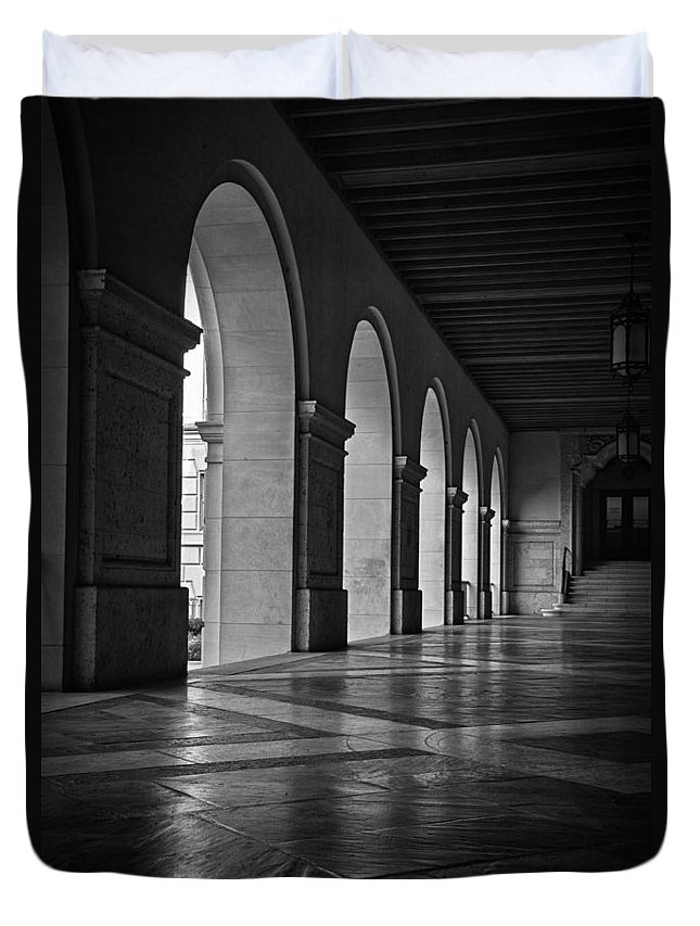 Joan Carroll Duvet Cover featuring the photograph Main Building Arches University Of Texas Bw by Joan Carroll