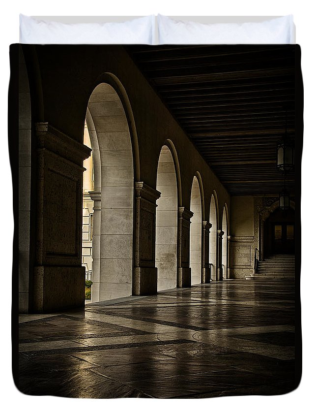 Joan Carroll Duvet Cover featuring the photograph Main Building Arches University Of Texas by Joan Carroll