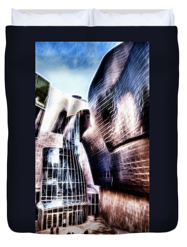 Guggenheim Duvet Cover featuring the photograph Main Entrance Of Guggenheim Bilbao Museum In The Basque Country Fractal by Weston Westmoreland