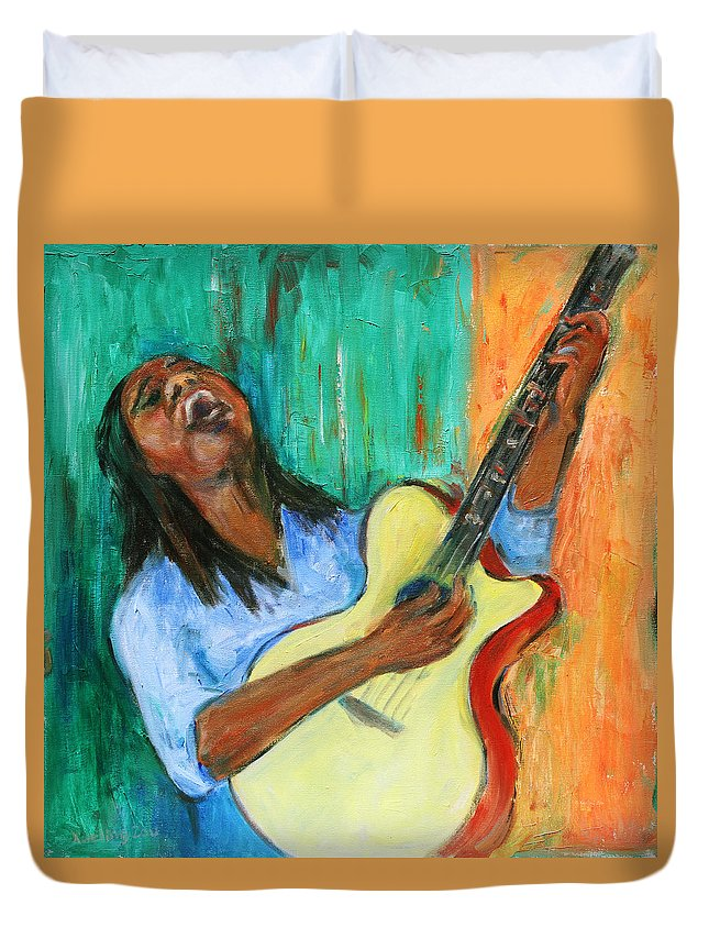 Figurative Duvet Cover featuring the painting Main Stage I by Xueling Zou