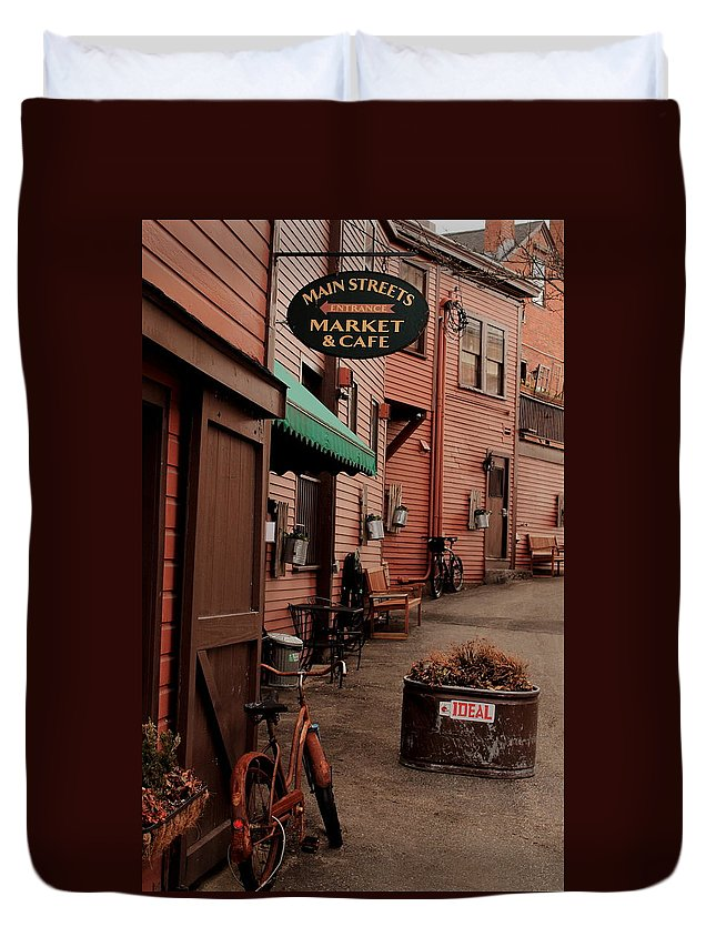 Downtown Duvet Cover featuring the photograph Main Street by Jeff Heimlich