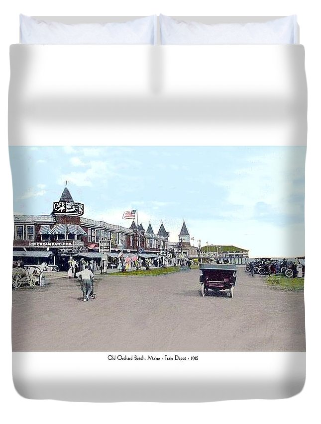 Street Scene Duvet Cover featuring the digital art Maine - Old Orchard Beach Train Depot - 1910 by John Madison