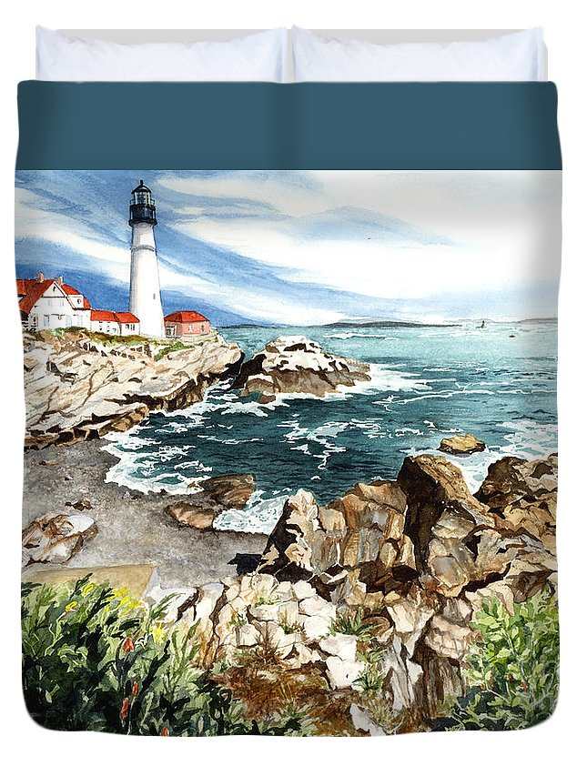 Water Color Paintings Duvet Cover featuring the painting Maine Attraction by Barbara Jewell