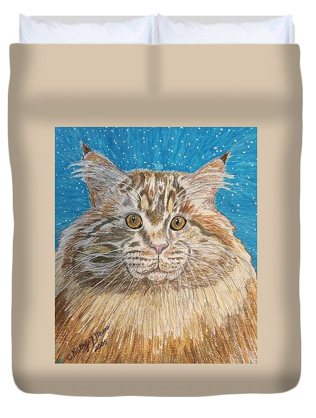 Maine Duvet Cover featuring the painting Maine Coon Cat by Kathy Marrs Chandler