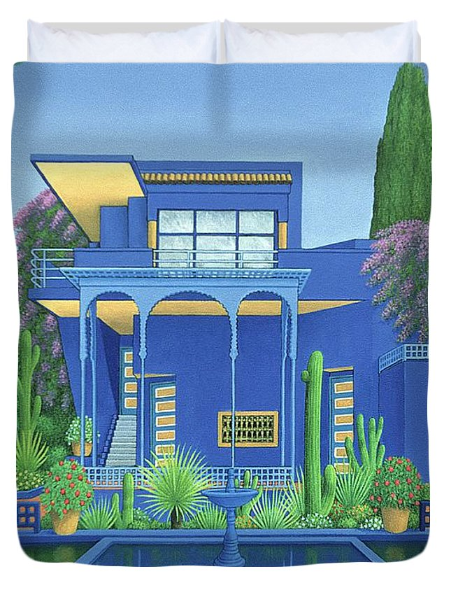 Moroccan Villa Duvet Cover featuring the painting Majorelle Gardens, Marrakech by Larry Smart