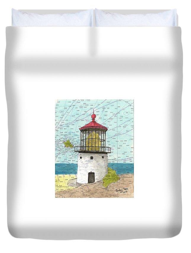 Makapuu Duvet Cover featuring the painting Makapuu Lighthouse Oahu Hi Nautical Chart Map Art by Cathy Peek