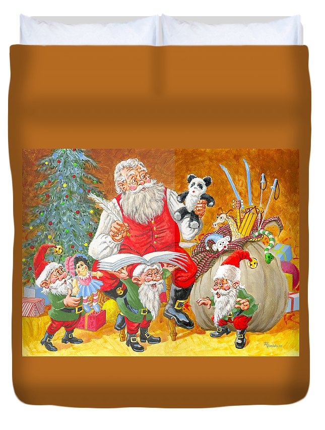 Santa Claus Duvet Cover featuring the painting Making A List Checking It Twice by Richard De Wolfe