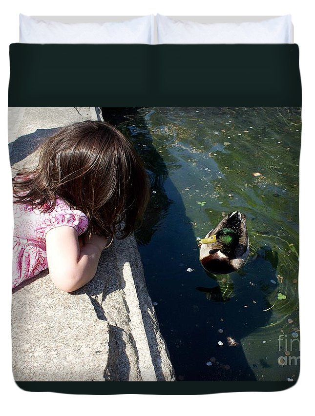 Duck Duvet Cover featuring the photograph Making Friends by Sandra Clark