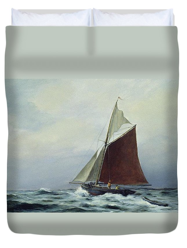 Sailing Boat; Ship; Leisure; Sport; Sea; Windy; Choppy; Gaff Rig; Exhilarating Duvet Cover featuring the painting Making Sail After A Blow by Vic Trevett