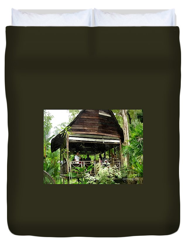 Antique Duvet Cover featuring the painting Malay Hut by Jeelan Clark
