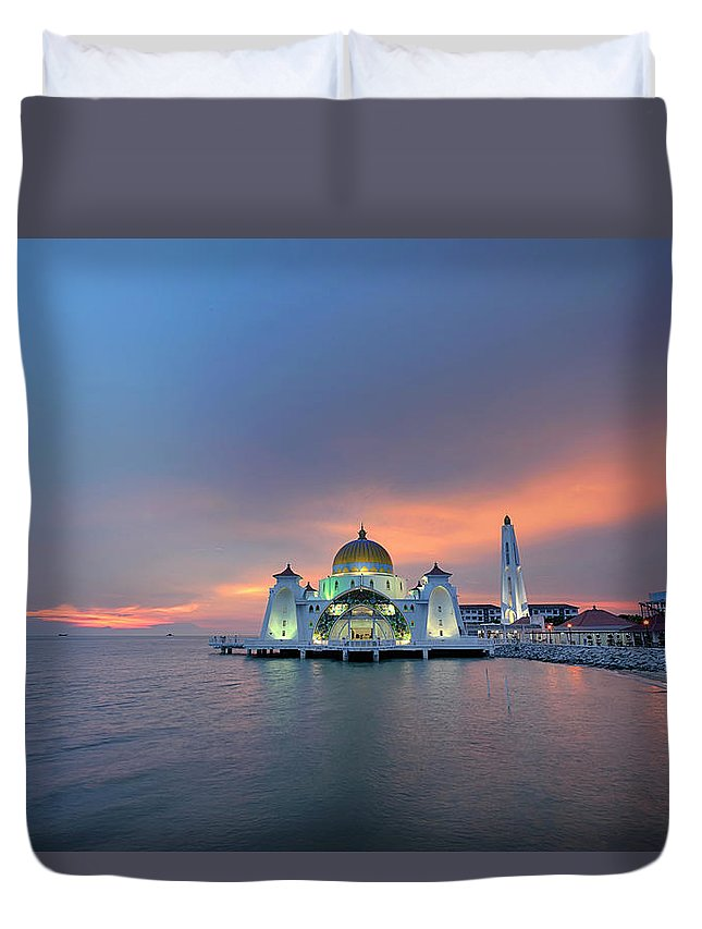 Mosque Duvet Cover featuring the photograph Malaysia - The Straits Mosque, Malacca by By Toonman