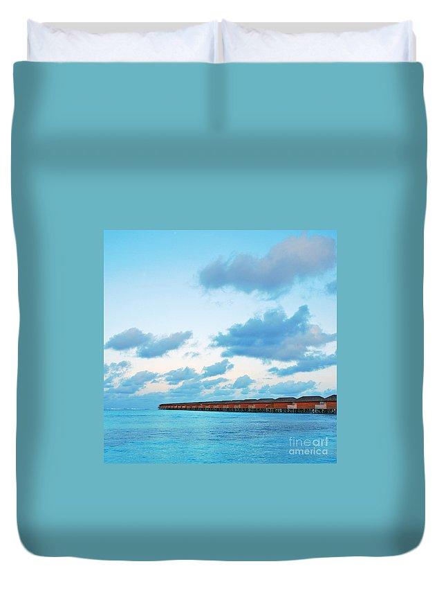 Maldives Duvet Cover featuring the photograph Maldives Resort by Luis Alvarenga
