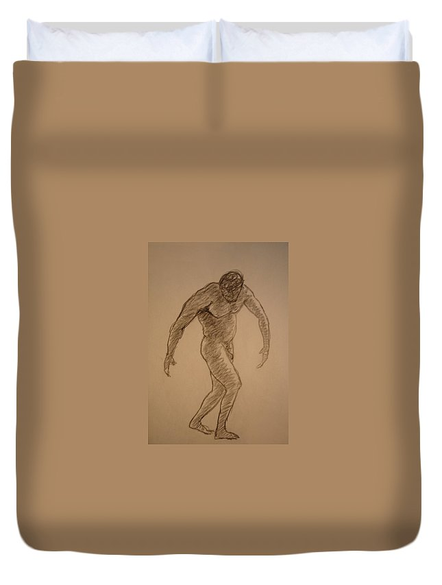 Genio Duvet Cover featuring the drawing Male Croquis by Genio GgXpress