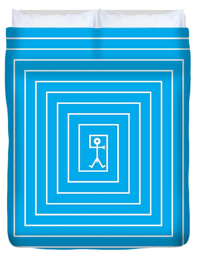 Labyrinth Duvet Cover featuring the painting Male Maze Icon by Thisisnotme