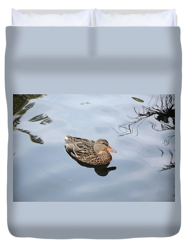 Hen Duvet Cover featuring the photograph Mallard Duck Smile by Roxy Hurtubise