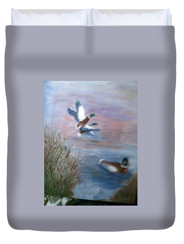 Animals Duvet Cover featuring the painting Decoy by Karen Lipek