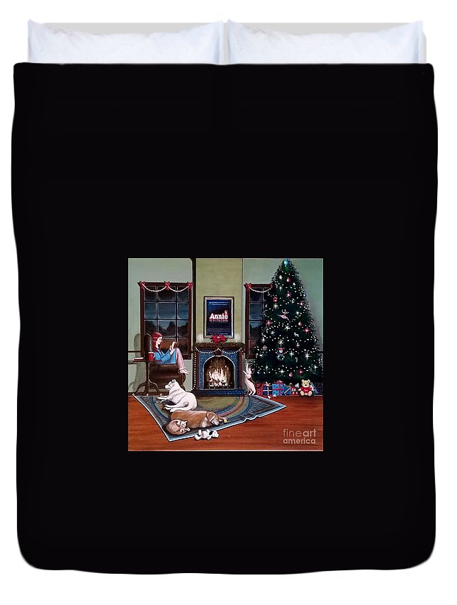 John Lyes Duvet Cover featuring the painting Mallory Christmas by John Lyes