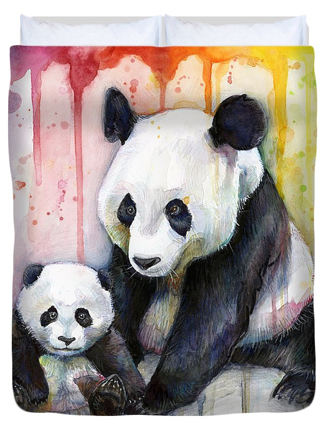 Watercolor Duvet Cover featuring the painting Panda Watercolor Mom And Baby by Olga Shvartsur
