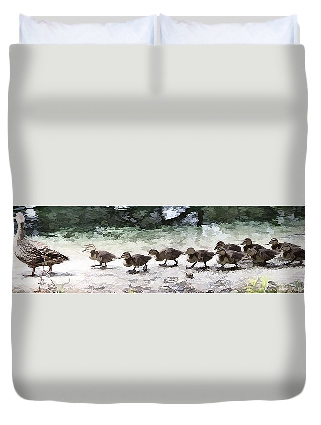 Ducks Babies Together Line Mallard Duvet Cover featuring the photograph Mama Duckies And Her Babies by Alice Gipson
