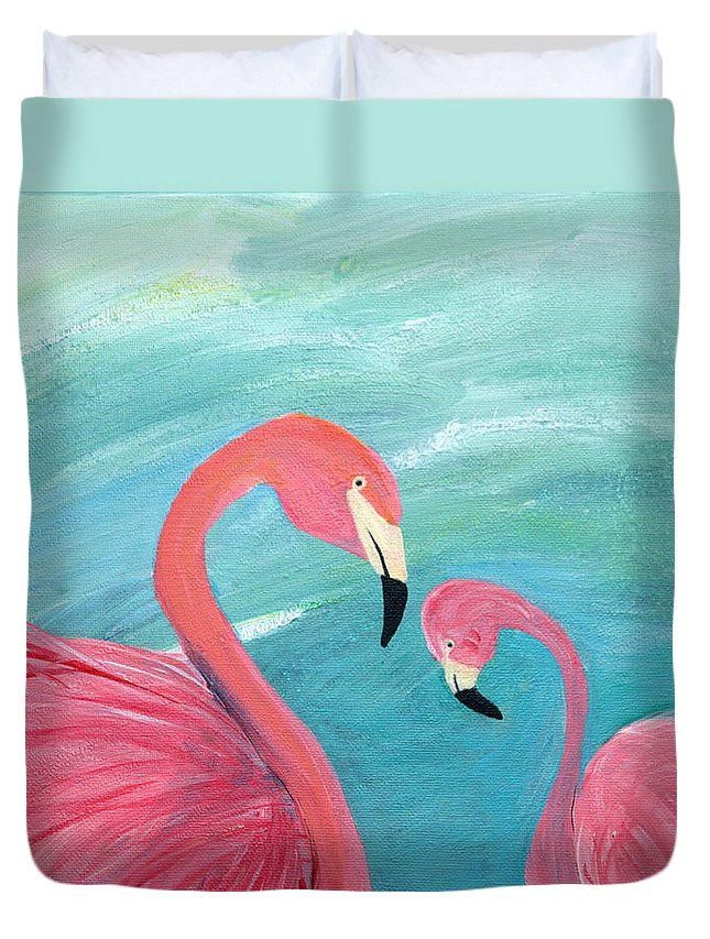 Flamingo Duvet Cover featuring the painting A Mother's Love by Maura Satchell