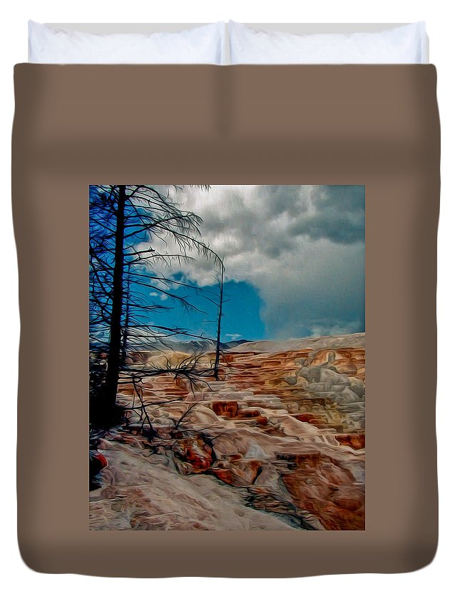 Mammoth Duvet Cover featuring the painting Mammoth Hot Springs Terrace by John Haldane