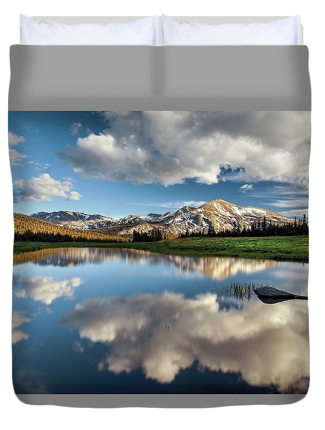 Scenics Duvet Cover featuring the photograph Mammoth Peak Reflection by Tom Grubbe