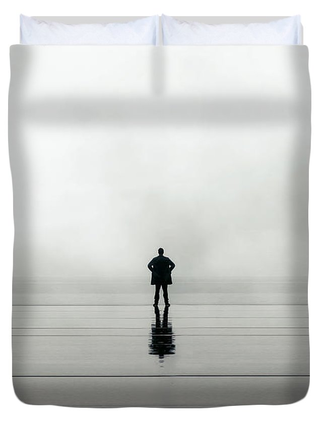 Young Duvet Cover featuring the photograph Man Alone by Joana Kruse