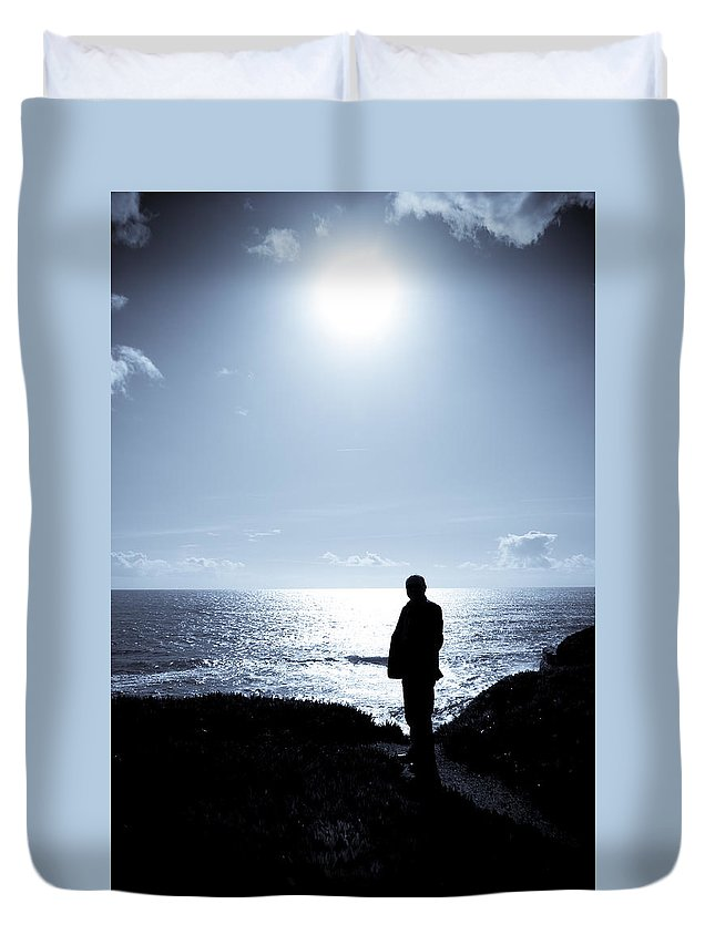 Sea Duvet Cover featuring the photograph Man And The Sea by Alexey Stiop
