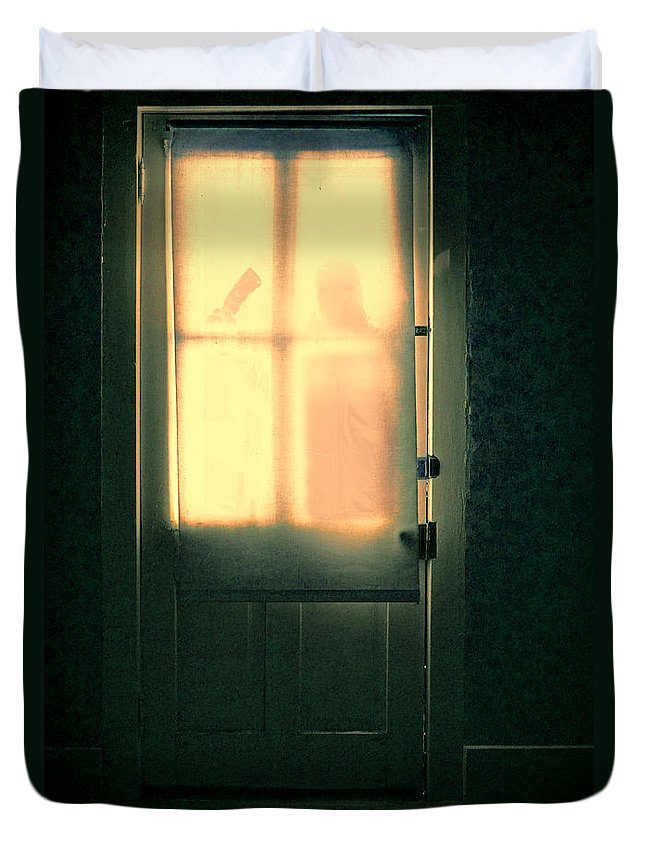 Door Duvet Cover featuring the photograph Man At Door With Cleaver by Jill Battaglia