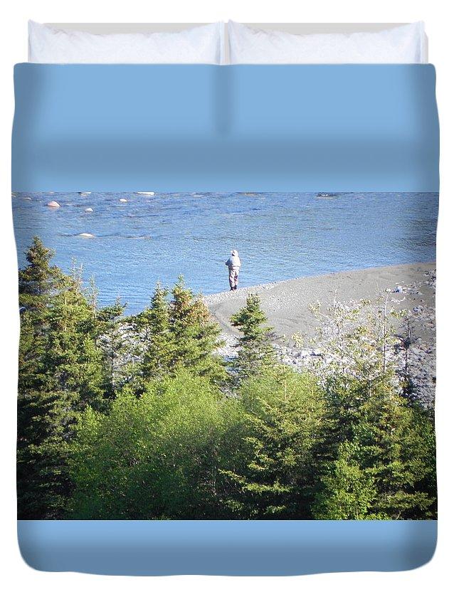 Man Duvet Cover featuring the photograph Man Fishing by Juanita Albert