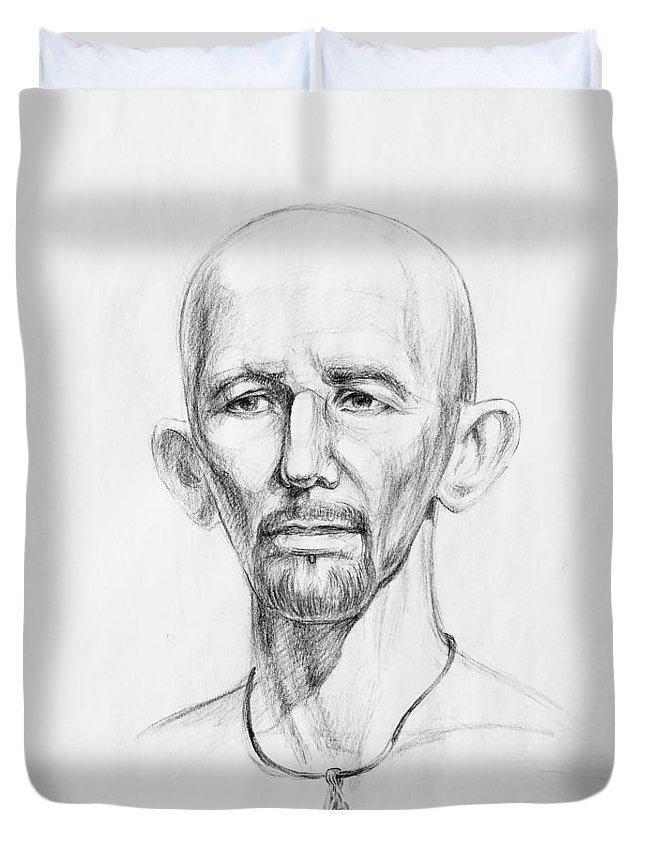 Man Duvet Cover featuring the drawing Man Head Study by Irina Sztukowski