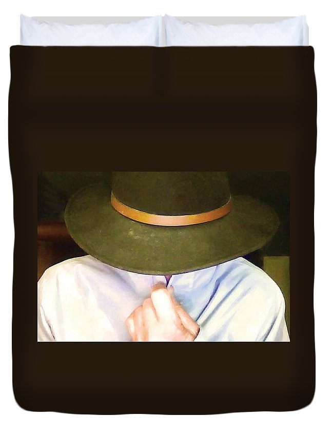 Hat Duvet Cover featuring the photograph Man In Hat by Hal Halli