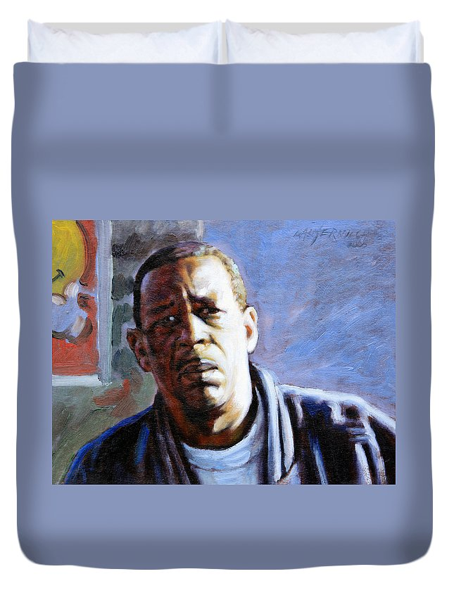 African American Duvet Cover featuring the painting Man in Morning Sunlight by John Lautermilch